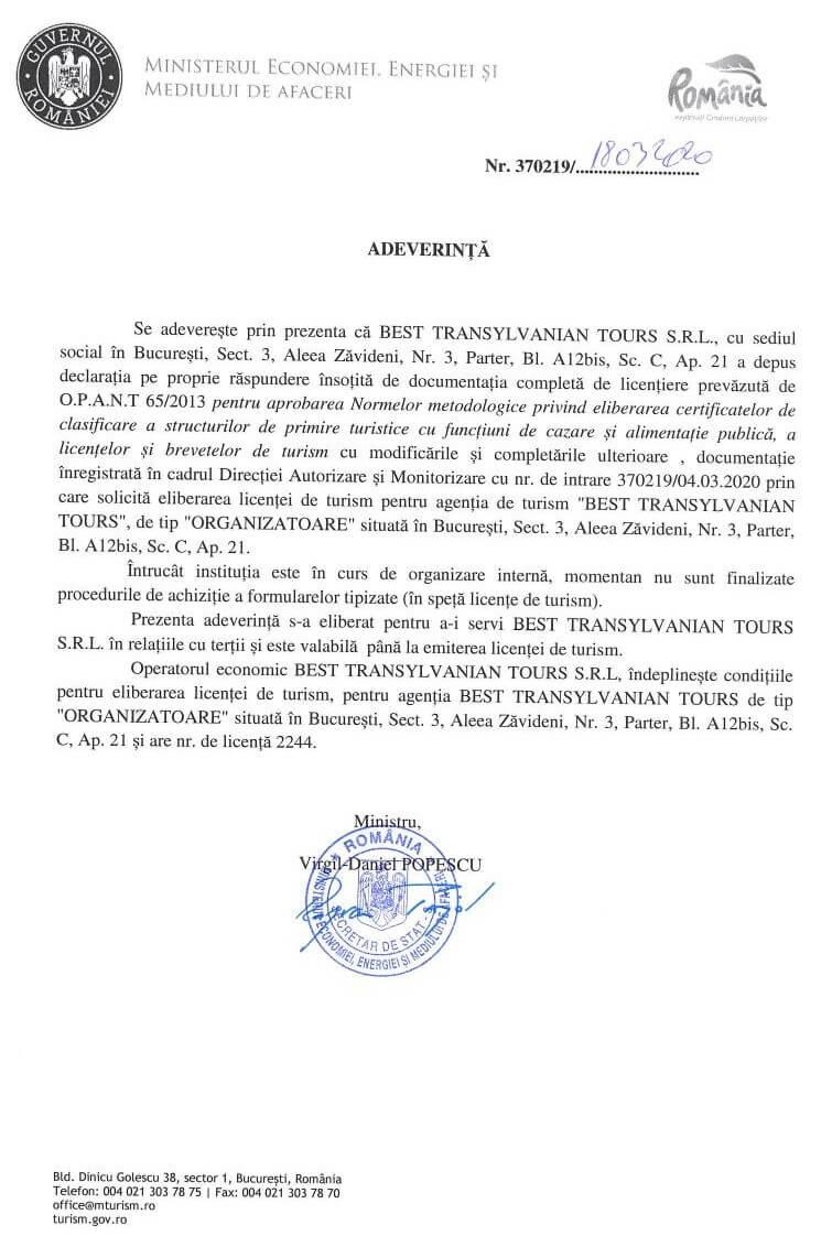 Licence Best Transylvanian Tours Agency